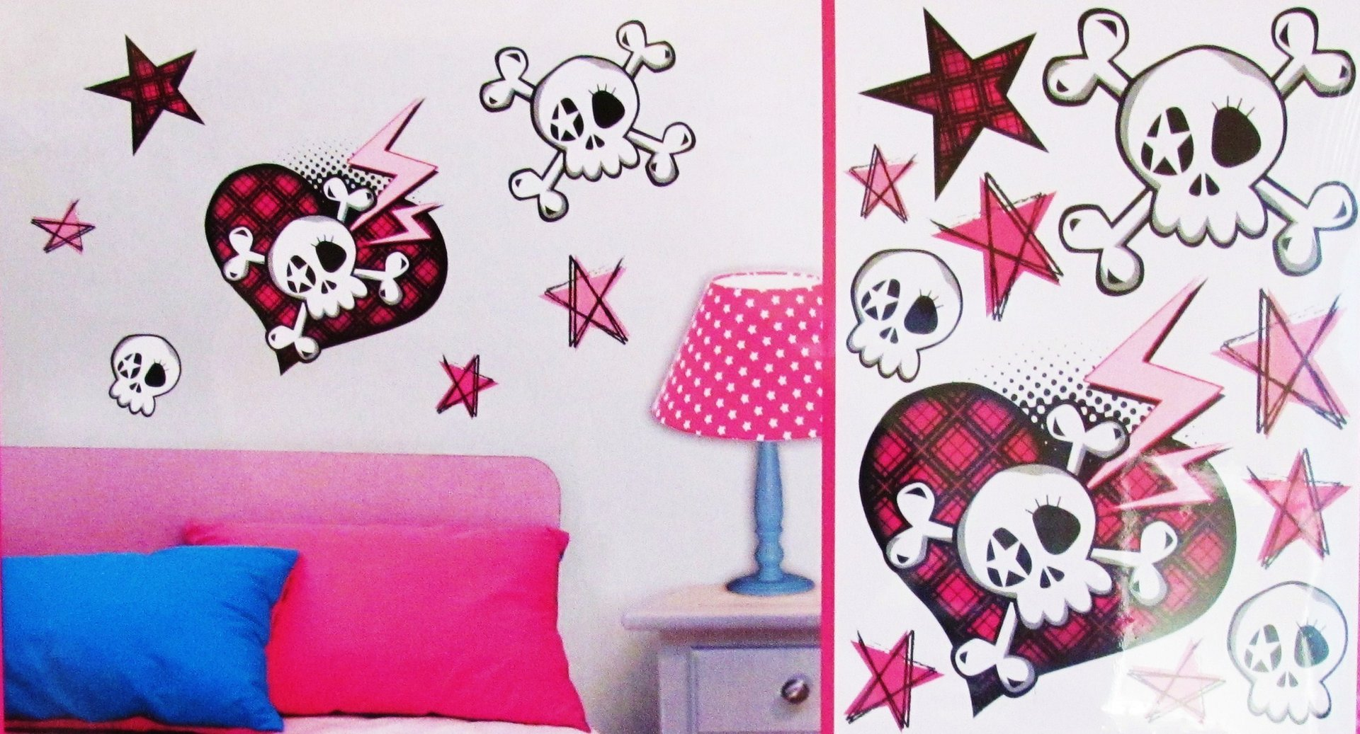 wandtattoo wandsticker wandaufkleber totenkopf regenbogenwelt24. Black Bedroom Furniture Sets. Home Design Ideas